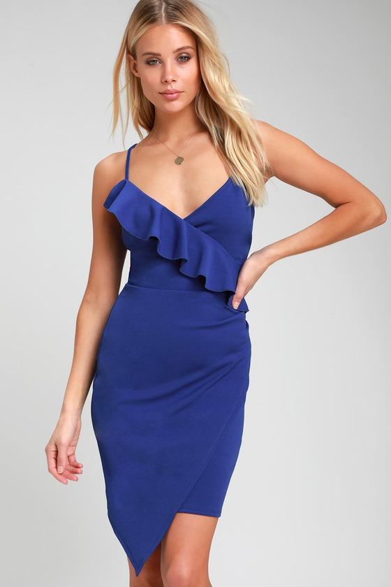 c448c76c073a Sexy Blue Dress - Ruffled Dress - Blue Bodycon Dress