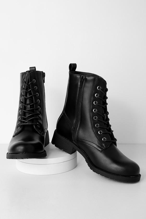 Bellah Black Lace Up Combat Boots