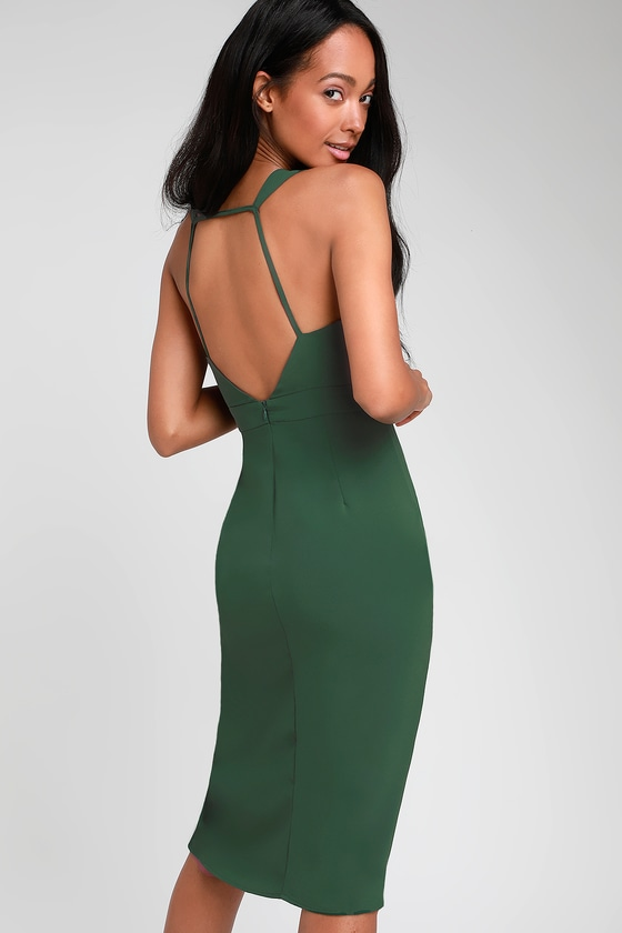 978af57f5aa41 Sexy Forest Green Dress - Bodycon Dress - Backless Dress