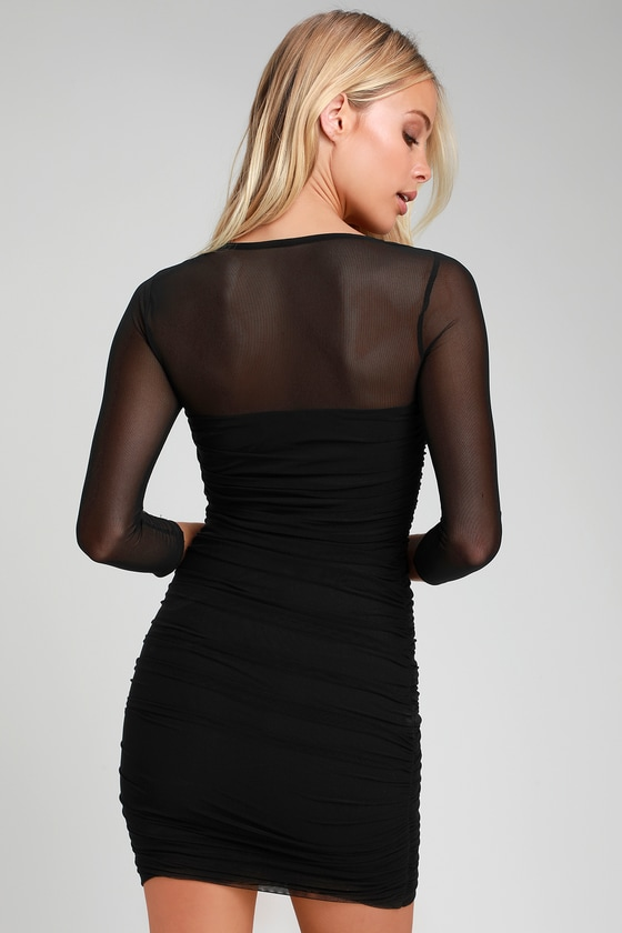 f31c8ff52f Sexy Bodycon Dress - Black Dress - Ruched Mesh Mini Dress