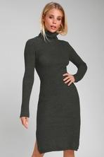 4299ba3f225a Cute Grey Dress - Midi Dress - Sweater Dress - Grey Dress