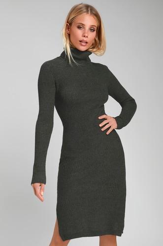 c2aef9eed2b Sheerah Charcoal Grey Turtleneck Midi Sweater Dress