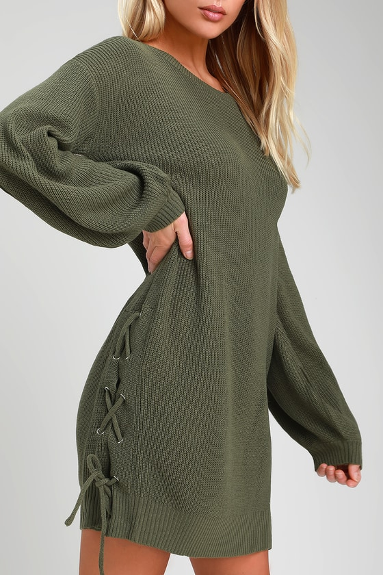 Green Balloon Sleeve Sweater Dress - Lace-Up Sweater Dress 4bd8ff8af