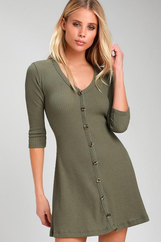 9516f0a80a Cute Olive Swing Dress - Waffle Knit Dress - Button-Front Dress
