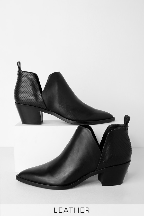 4b597bdb0a8 Dolce Vita Sonni - Black Leather Booties - Pointed-Toe Booties