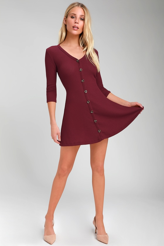 59f10f8945a7 Cute Burgundy Mini Dress - Waffle Knit Dress - Button-Front Dress
