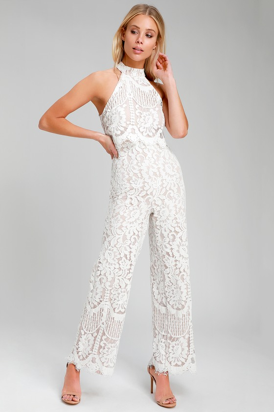 f06b796b5b72 Cute White Jumpsuit - Lace Jumpsuit - Halter Jumpsuit - Jumpsuit