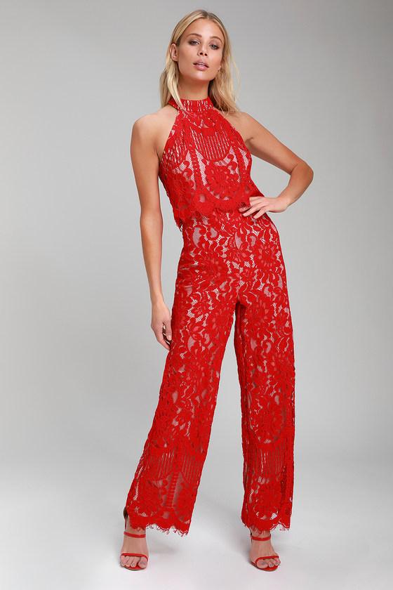 8fcbc940457 Cute Red Jumpsuit - Lace Jumpsuit - Halter Jumpsuit - Jumpsuit