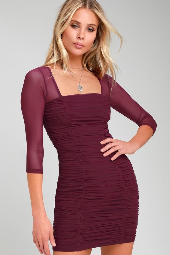 a55d21d4c3a Sexy Bodycon Dress - Plum Purple Dress - Ruched Mesh Mini Dress