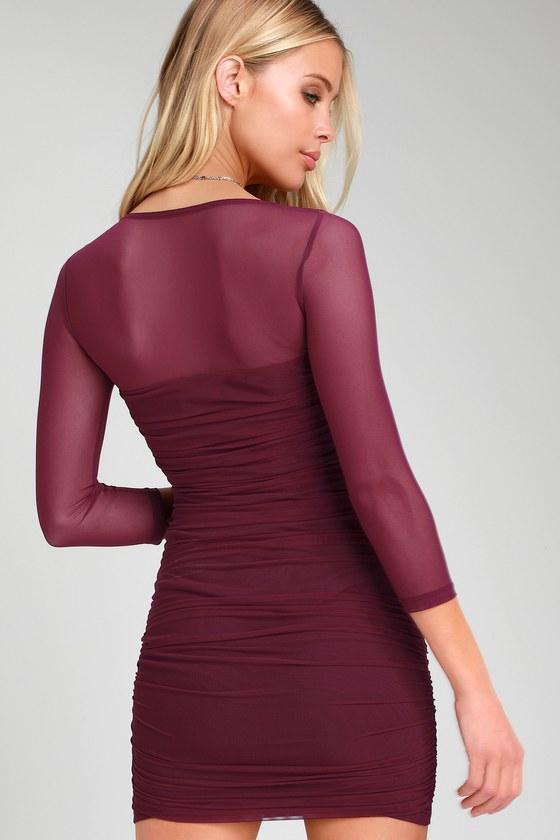 2f2c6eadf70 Sexy Bodycon Dress - Plum Purple Dress - Ruched Mesh Mini Dress