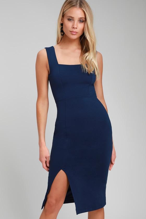 2f8dddad5b14 Chic Navy Blue Midi Dress - Bodycon Dress - Bodycon Midi Dress