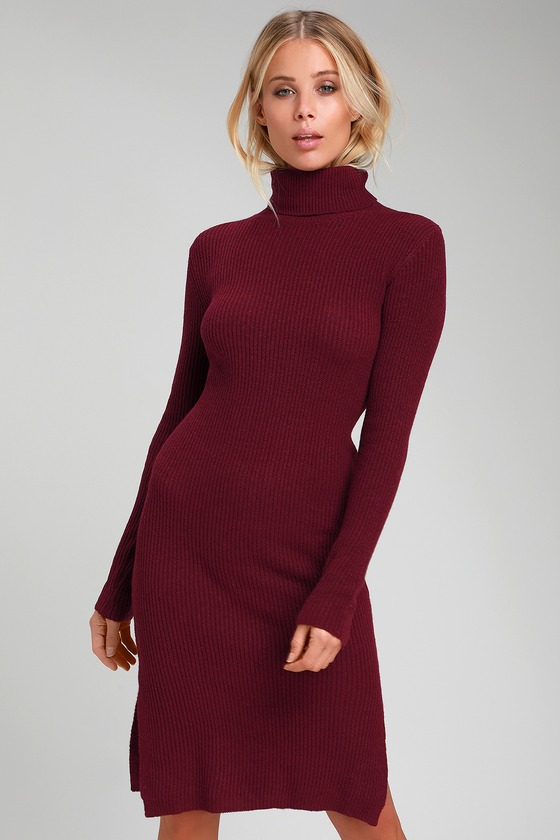 a34da760697 Cozy Burgundy Dress - Sweater Dress - Turtleneck Dress