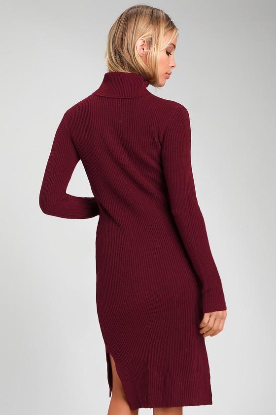 d5807494c75 Cozy Burgundy Dress - Sweater Dress - Turtleneck Dress