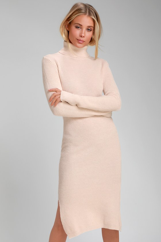 0fb684b7b2482 Cozy Light Blush Dress - Sweater Dress - Turtleneck Dress