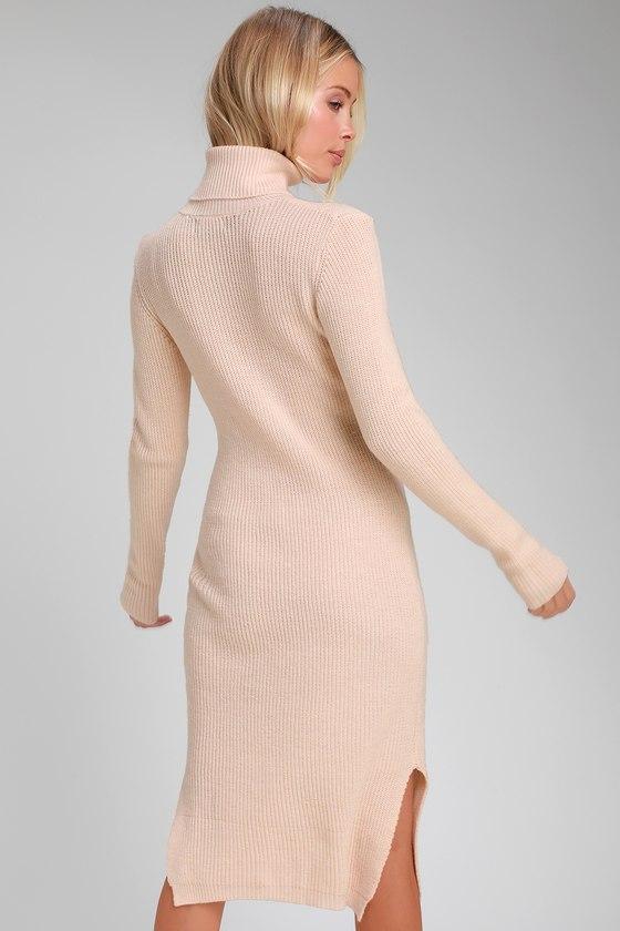 ce6faef698e Cozy Light Blush Dress - Sweater Dress - Turtleneck Dress