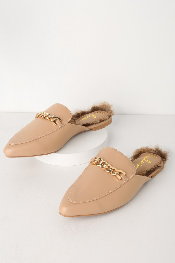 Antonia 2 Nude Faux Fur Loafer Slides - Lulus