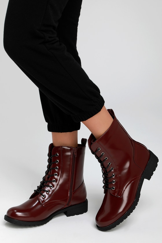 ac7b49ebbff Cute Oxblood Boots - Combat Boots - Red Combat Boots