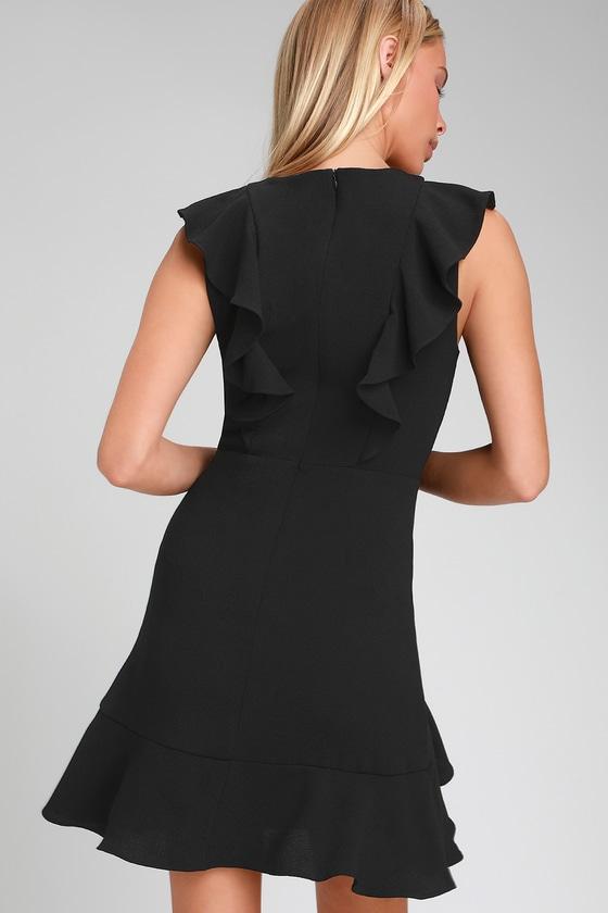 Cute Black Dress Ruffled Dress Sleeveless Sheath Dress Lbd