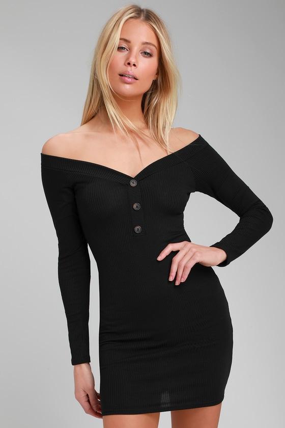 13f64f932da8 Sexy Black Dress - Off-the-Shoulder Dress - LBD - Bodycon Dress