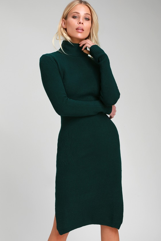 05c9f19bcab Cozy Forest Green Dress - Sweater Dress - Turtleneck Dress