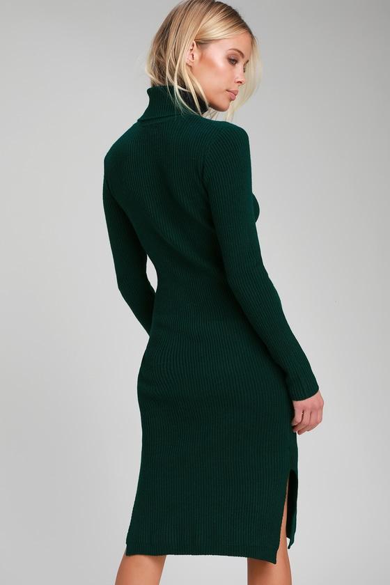 1432350bd8e6 Cozy Forest Green Dress - Sweater Dress - Turtleneck Dress