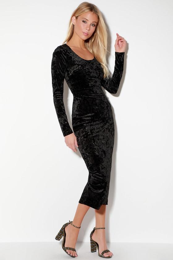 2abb159172 Glam Black Dress - Black Velvet Dress - Velvet Midi Dress - LBD