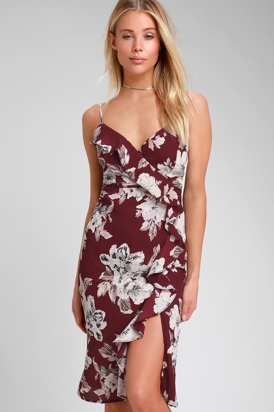 9bc786e7c4dd Cute Burgundy Floral Dress - Ruffled Dress - Midi Dress