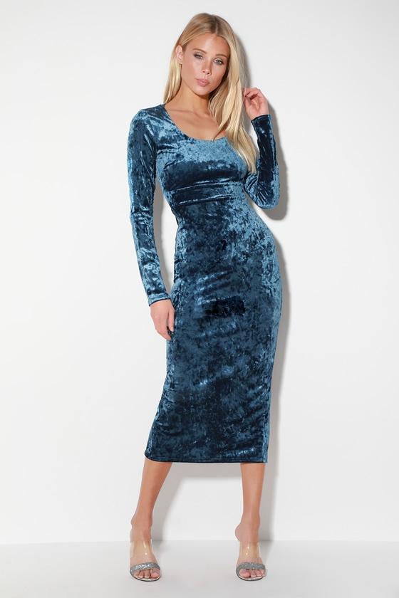 ab60f51ace2 Glam Denim Blue Dress - Blue Velvet Dress - Velvet Midi Dress