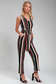 81448408daae Love Line Burgundy Striped Sleeveless Jumpsuit