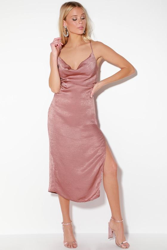 d960f2bb6fad96 Chic Mauve Dress - Satin Dress - Midi Dress - Backless Dress