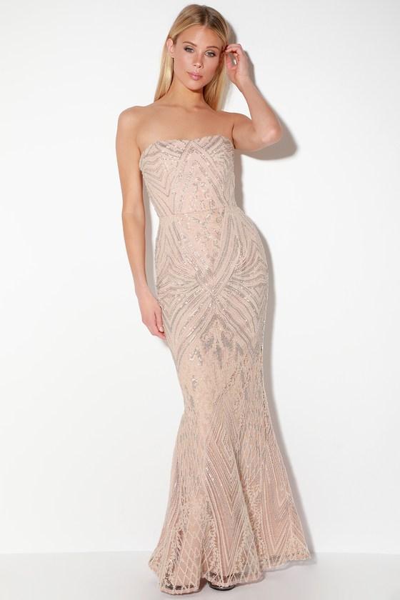 df2c8daf073 Dress the Population Gretta - Blush Pink Maxi - Sequin Maxi Dress