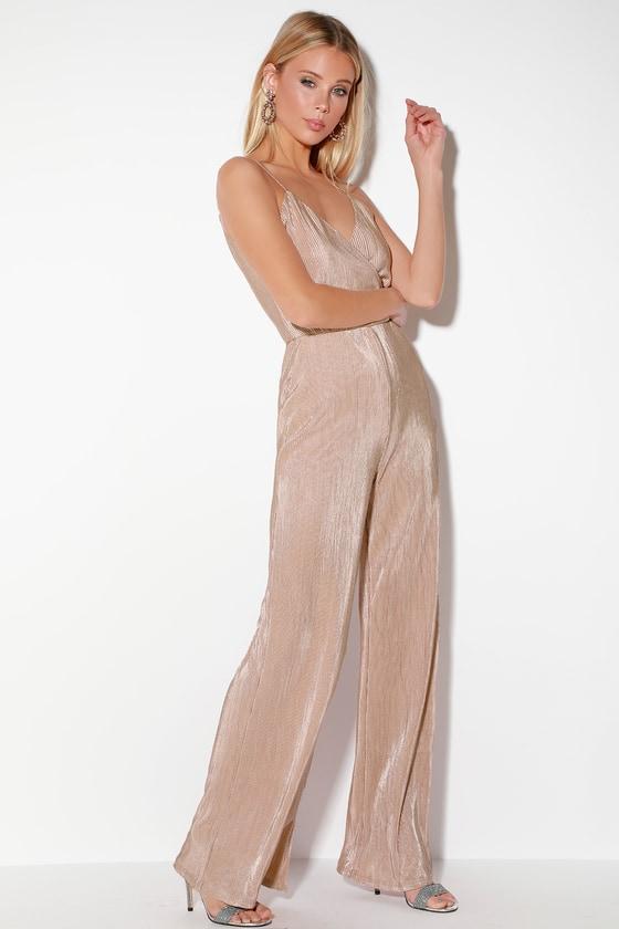 10c70a91f184 Cute Blush Pink Jumpsuit - Sparkly Jumpsuit - Surplice Jumpsuit