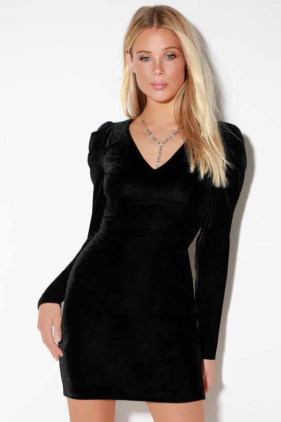 c82be16ef62 Sexy Black Velvet Dress - Velvet Long Sleeve Dress - Mini Dress