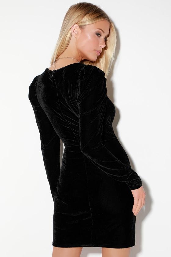 a91dc61f47 Sexy Black Velvet Dress - Velvet Long Sleeve Dress - Mini Dress