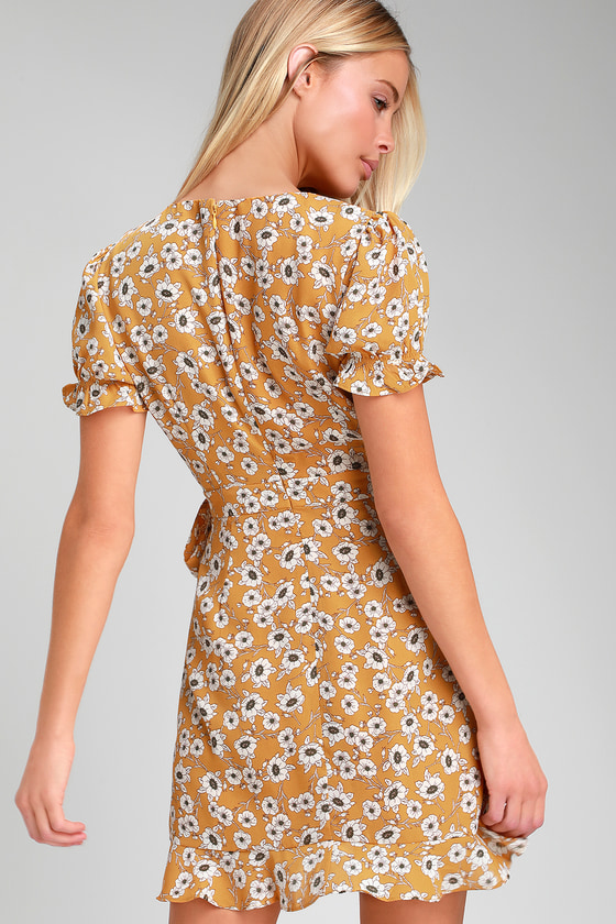 c06efff0782 Daisy For You Mustard Yellow Floral Print Ruffled Mini Dress