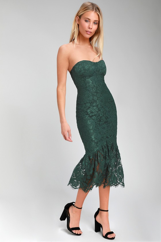 36a87ee8c5b0d Lovely Forest Green Dress - Lace Dress - Strapless Lace Dress