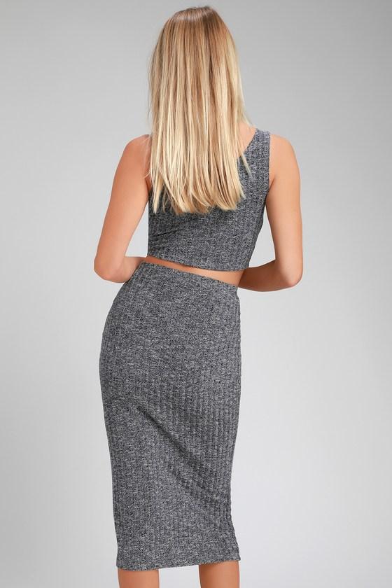 994a19d4b Cute Skirt - Heather Navy Blue Skirt - Pencil Skirt - Midi Skirt