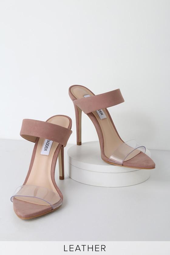 3f6243f6432d Steve Madden Amaya - Blush Nubuck Leather Heels - Heeled Sandals