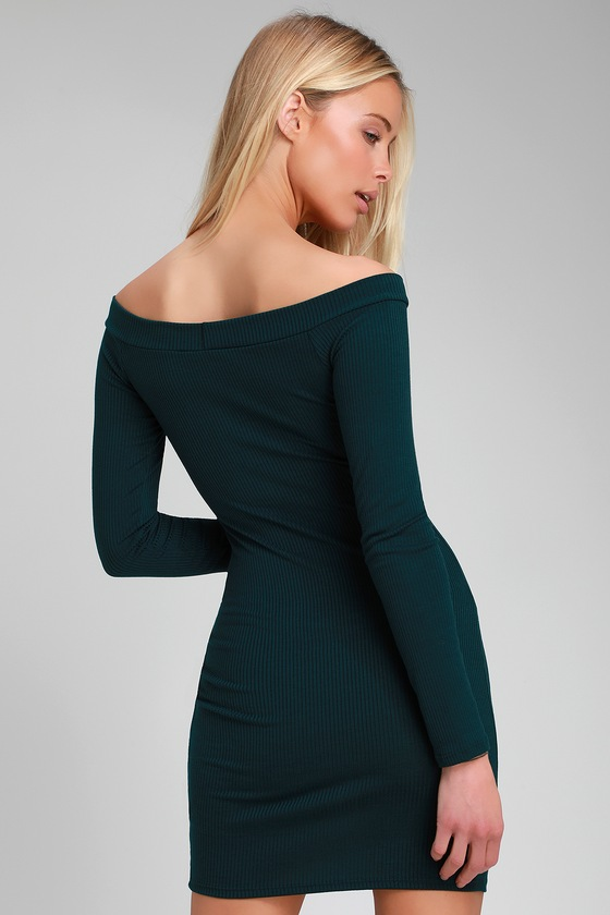 2f498c73c9b Sexy Teal Green Dress - Off-the-Shoulder Dress - Bodycon Dress