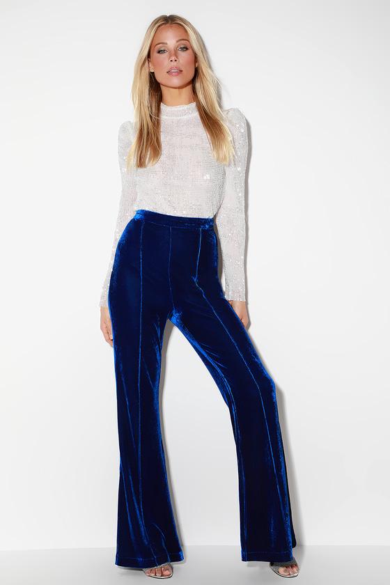 70s Outfits – 70s Style Ideas for Women Rossi Royal Blue Velvet Wide-Leg Pants  Lulus $44.00 AT vintagedancer.com