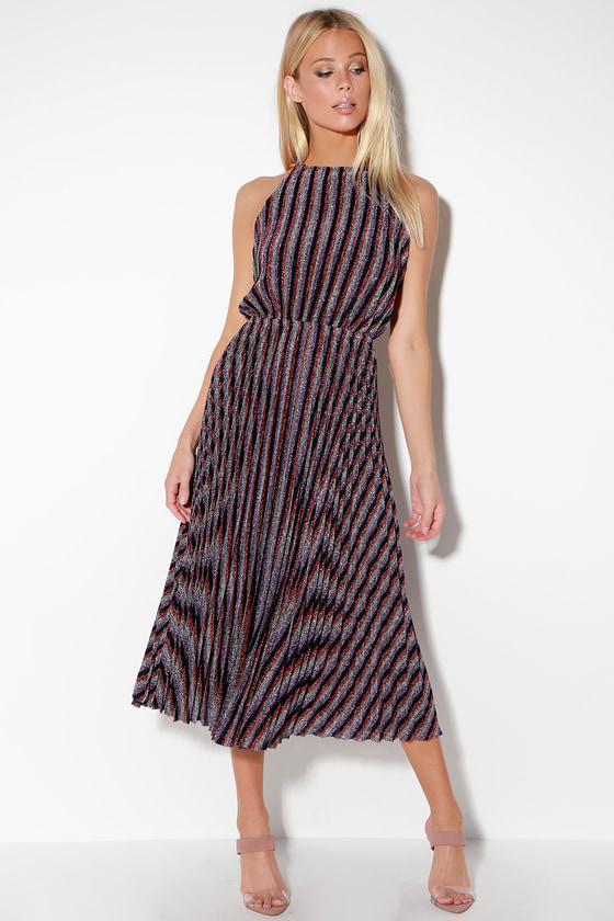 Rebecca Purple Multi Striped Pleated Halter Midi Dress by Lulu's