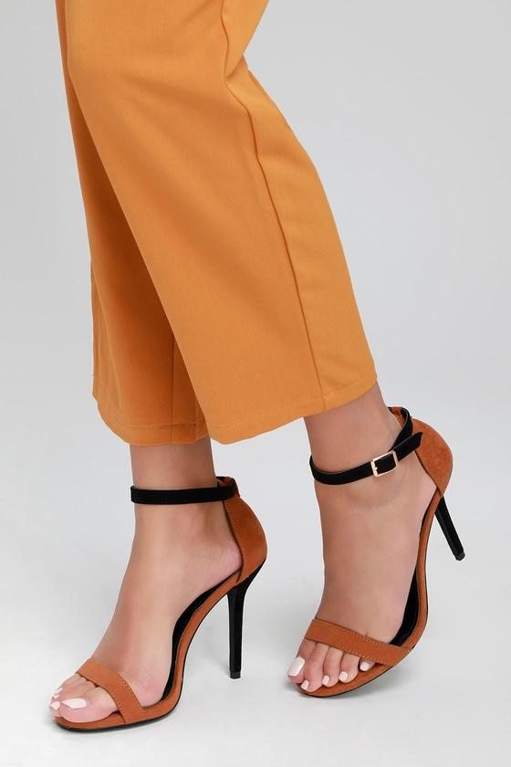 022b0ba45089 Elsi Color Block Camel and Black Suede Single Strap Heels