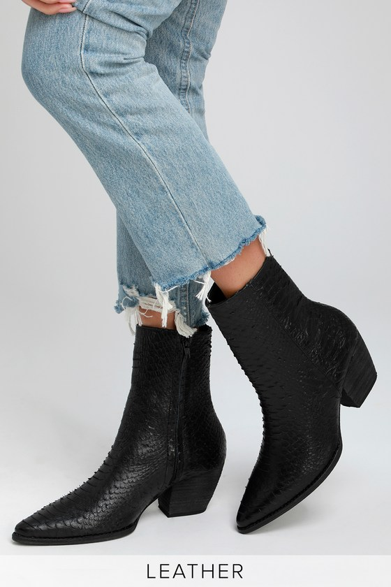 a9213cef9a34 Black Leather Boots - Snakeskin Boots - Mid-Calf Boots