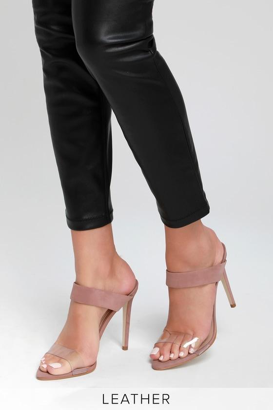 b6ab20208e5 Steve Madden Amaya - Blush Nubuck Leather Heels - Heeled Sandals