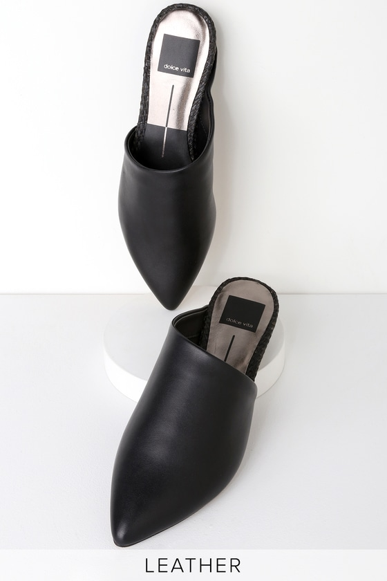 c0864ccb38d3 Dolce Vita Ekko - Black Leather Slides - Pointed-Toe Slides