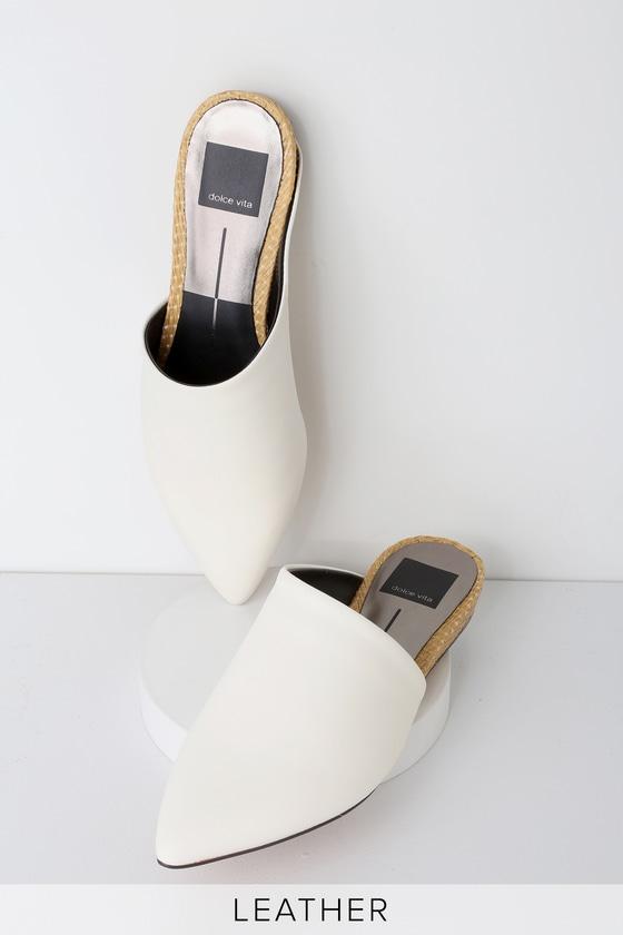 094de30b6ad4 Dolce Vita Ekko - Off White Leather Slides - Pointed-Toe Slides