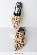163f11b80896 Grant Blue Raffia Woven Loafer Slides.  100. Ekko Leopard Calf Hair  Pointed-Toe Slides