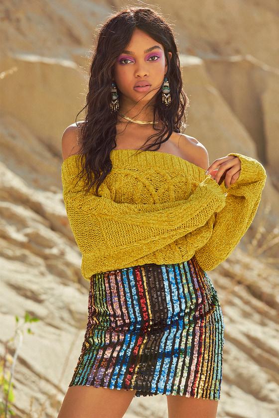 269ecb2164b5 Dazzling Mini Skirt - Sequin Mini Skirt - Rainbow Stripe Skirt