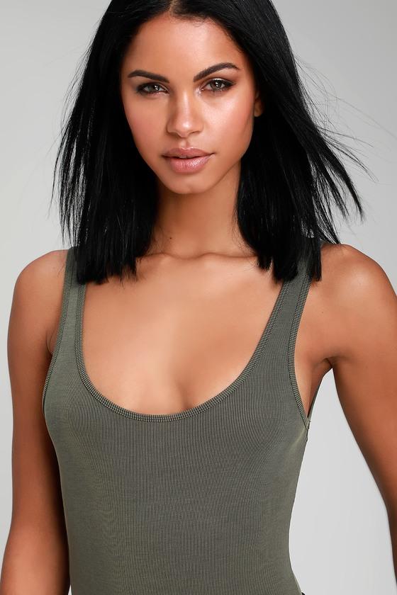 8d7230de2ea841 Cute Olive Green Bodysuit - Ribbed Bodysuit - Basic Bodysuit