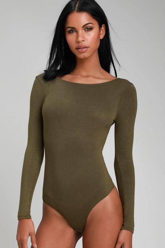 Cute Olive Bodysuit - Long Sleeve Bodysuit - Scoopback Bodysuit 69715b437